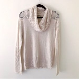 LUCKY BRAND Cream Crochet Funnel Neck Sweater